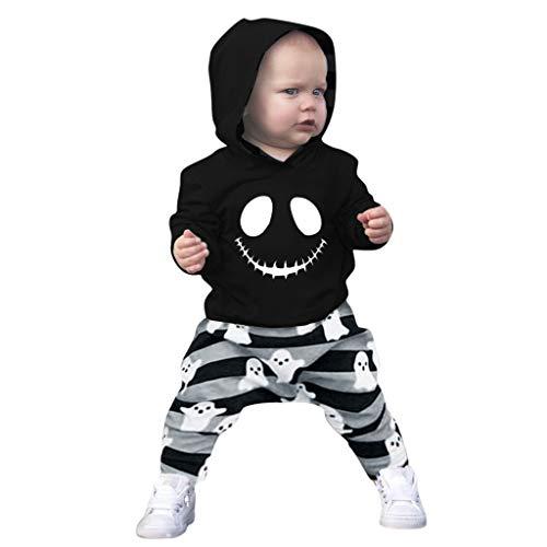 Likecrazy Baby Jungen Outfit 2 Stücke Set Kleinkind-Baby Halloween Cartoon Schädel Hoodie Sweatshirt Hosen Baby Bekleidungsset Pullover Tops + Gestreifte Hosen Outfits - Asiatische Prinz Kostüm