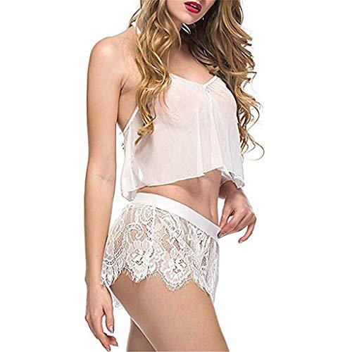 B-commerce Zweiteilige Mädchen Weiche Pyjama Sets Frauen Crop Tops Ärmelloses Armband Nachtwäsche Spitzenbesatz Satin Cami Nachtwäsche Sets -