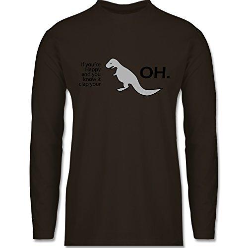 Sprüche - Dino Happy - OH - Longsleeve / langärmeliges T-Shirt für Herren Braun