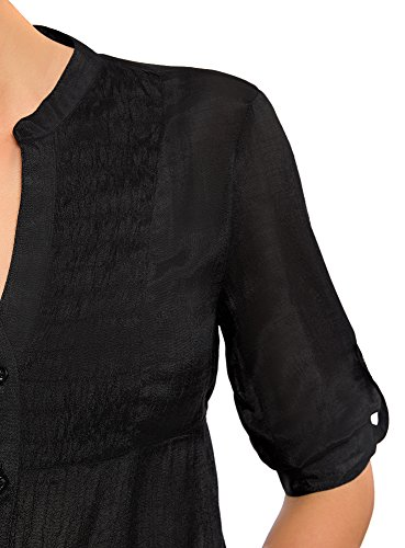 oodji Collection Damen Tunika mit V-Ausschnitt Schwarz (2900N)