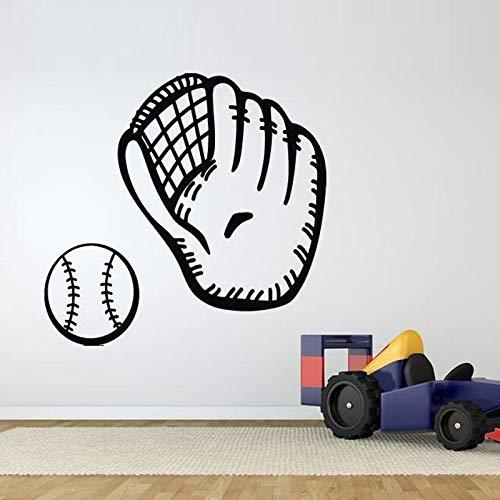 Baseball Handschuhe Muster Vinyl Wasserdicht Aufkleber Schlafzimmer Junge Hobby Kunstwand Vinyl Wandaufkleber Sportraum Aufkleber 61 * 56 cm -
