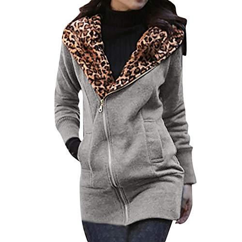 Sunnyuk Damen Parka mit Leopard warm-gefüttert mädchen Slim-fit Langen Outwear mit Kapuze knöpfen Sweat-Jacke fit Outdoor Trainings schwarz grau Khaki