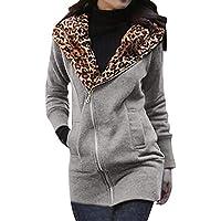Hanomes Damen Mantel,Damen Mode Leopard Print Hoodie Slim Fit Sweatshirt Einfarbig Reißverschluss mit Kapuze Mantel... preisvergleich bei billige-tabletten.eu