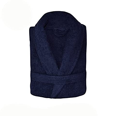 Spa Collection Home Mens and Ladies 100% Cotton 550GSM Terry Towelling Adults Shawl Collar Bathrobe Dressing Gown Bath Robe Extra Absorbent Toweling Robe Unisex (Navy) by Spa Collection