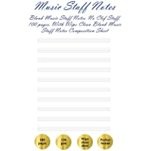 Music Staff Notes: Music Notes. No Clef Staff (100 pages). With Wipe Clean Music Notes Composition Sheet