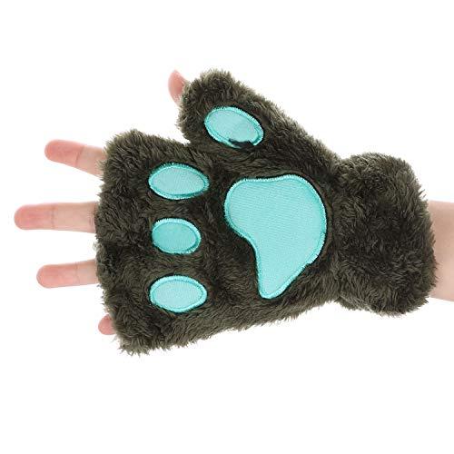 mitones invierno guantes mujer guantes de peluche Gloves pata de gato oso guantes de esquí suave confort Manoplas demi-doigt con la cuerda del cuello regalo de Navidad Halloween