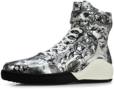 MSM4 Impresión De La Moda De Los Hombres Zapatos Martin Zapatos De Cuero Personalidad Gruesa Zapatos De Encaje...