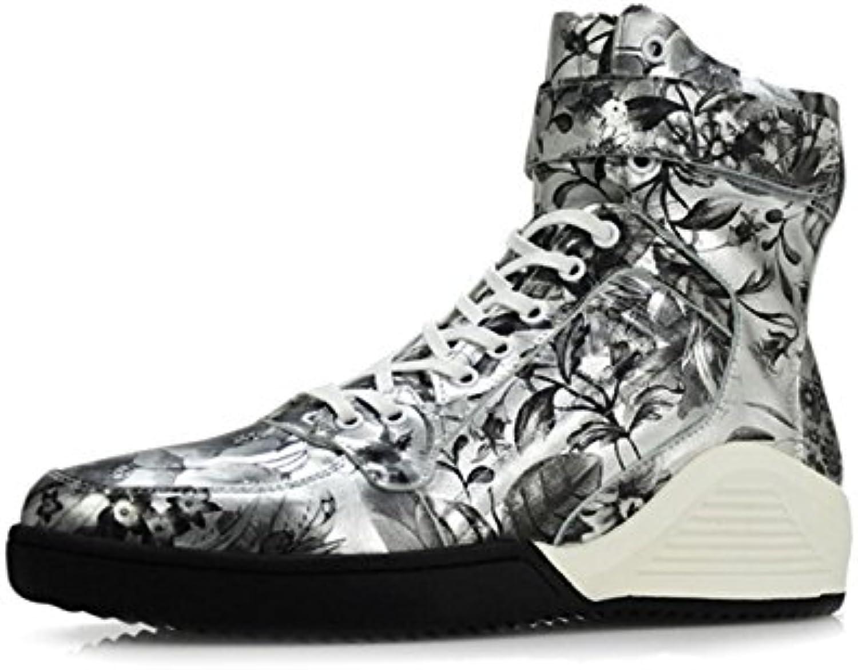 NBWE Zapatos De Plataforma Martin Boots De Cuero Genuino para Hombre De Hip Hop,37  -
