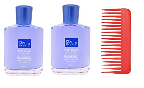 Combo of 2pc Blue Heaven Nail Polish Remover 60ml & Shampoo Comb