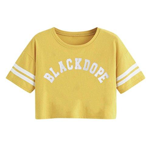 TUDUZ Tops Damen T-Shirt mit Brief Gedruckt Kurzarm O-Ausschnitt Sommer Streifen Oberteile Shirt Bluse Tank Top Crop Tops