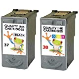 Refilled Canon Pg-37 + Cl-38 Twin Pack Pixma PIXMA MP210 MP220 MP470 Printer