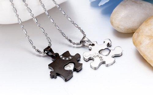 """JewelryWe Schmuck 2 Freundschaftsketten Halsketten """"Just For You"""" Liebe Edelstahl Puzzle Herz Anhänger für Damen & Herren Schwarz/Silber"""