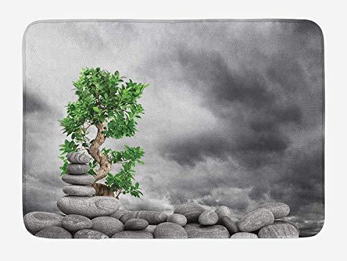 EJjheadband Zen Bath Mat, Basalt Stones Pile and Green Tree Moody Stormy Dramatic Sky Asia Balance Therapy Theme, Plush Bathroom Decor Mat with Non Slip Backing, 29.5 W X 17.5 W Inches, Grey Green (New Balance-scrubs)