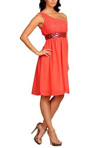 My Evening Dress- Robe de Cocktail et de Soirée à Une Epaule Pailletée Orange - Corail