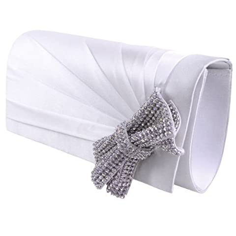LADIES WOMENS GIRLS DIAMANTE SATIN BOW PLEATED BRIDAL PROM PARTY BOX SQUARE SMALL HAND CLUTCH BAG (Off White Satin)