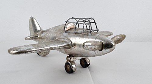 Elegantes Deko Flugzeug als Schreibtischdekoration im Vintage Shabby Stil Modellflugzeug Handarbeit Unikat antik Silber