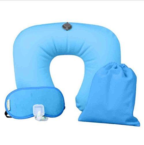 Marcus R Caveggf Reisen Sie aufblasbares Kissen - im Freienspielraum Sambo PVC, das aufblasbare U-Kissen Ohrenstöpsel Schattenschutzbrillen dreiteilige Größe 30 * 30 * 10cm, Blue -