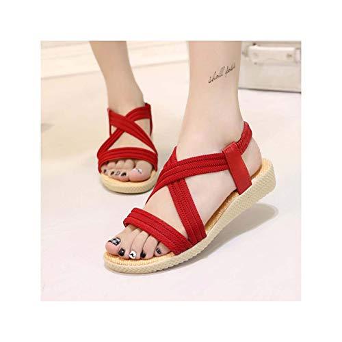 Summer Women Sandals Women Shoes 2019 Beach Flat Sandals Ladies Shoes Women Comfort Sandalias Female Plus Size 35-41 Beige 7.5
