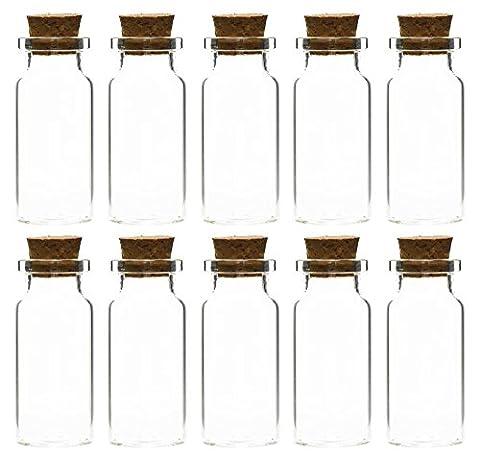FiveSeasonStuff® Mini Transparent Glas Flaschen/Gläser mit Korkverschluss für Scents, Öle, Gewürze, Hochzeit, Schmuck, Nachricht, Kleine Geschenke etc. 10ml (21 Pcs)