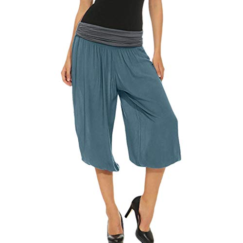 XNBZW Damen Hohe Taillen-beiläufige Lose Weites Bein Hose Elastische Taille Sommerhose Pumphose Haremshose Pluderhose(Blau,XXL)