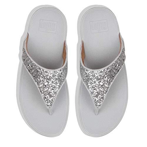 FitFlop Damen Lulu Glitter Toe-Thongs Sandalen, Silber (Silver 011), 37 EU Damen Schuhe Glitter