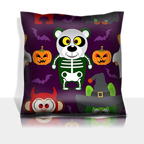 (MSGDF Throw Pillowcase Cotton Satin Comfortable Decorative Soft Pillow Covers Protector Sofa 18x18 1 Pack Halloween Background Seamless with Animal in Halloween Costum)