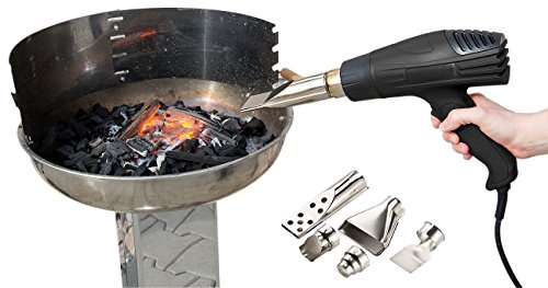 AGT Heißluft Grillanzünder: Grillanzünder-Heißluftpistole mit 2 Gebläsestufen, bis 1.800 Watt (Elektrischer Grillanzünder)