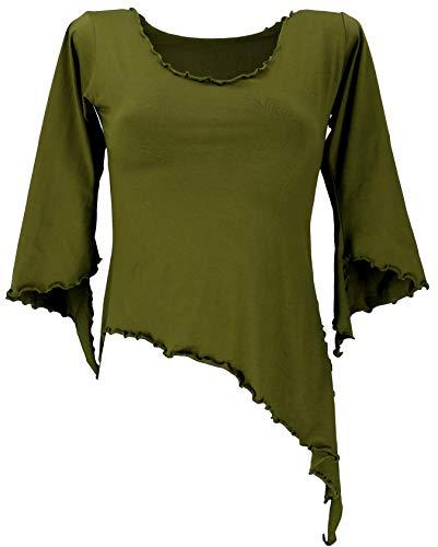 Guru-Shop, Psytrance Elf Shirt Goa Chic con Maniche Svasate, Oliva, Cotone, Dimensione Indumenti:M / L (38), Maglioni, Felpe a Maniche Lunghe Magliette