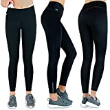 Formbelt Thermo Leggings Damen Winter Laufhose mit Tasche lang - Stretch-Hose hüfttasche für Smartphone iPhone Handy Schlüssel (schwarz XL)