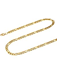 0b643f21fc36 FOCALOOK Collar Hombre 3+1 Fígaro Cadena 5mm Cadena Básica de Acero  Inoxidable Bañado en Oro Oro Rosado Negro 45-70cm…