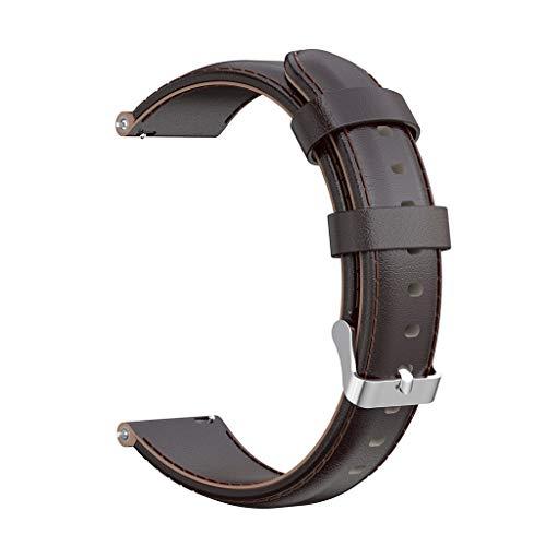Glowjoy Leder Armband für Samsung Galaxy Watch 42/Active R500 40MM/Gear Sport R600/S2/classic R732/R735,Echtes Leder Uhrenarmband Unisex Langlebig Lederband mit Edelstahlschnalle (Kaffee) - Herren-erweiterbar-uhr Bänder