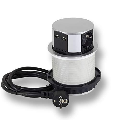 Steckdose versenkbar 3x Schuko, 2x USB für Küche, Büro, Möbel. Einbausteckdose mit 1,4m Kabel auch für Kochinsel, Schreibtisch | 230V AC | IP20 | grau | max 3600 Watt | 5VDC / 2,1A