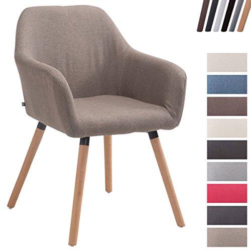 CLP Esszimmerstuhl ACHAT V2 mit Stoffbezug, Polsterstuhl mit Armlehne, Sitzfläche gepolstert, mit Bodenschonern, max. Belastbarkeit 150 kg, Taupe, Gestellfarbe: Natura