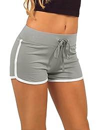 CRAVOG Damen Baumwolle Shorts Hot Pants Sporthose Strand Running Gym Yoga Shorts Hosen