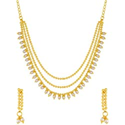 Voylla Yellow Gold Necklace Set with Pearl Drops
