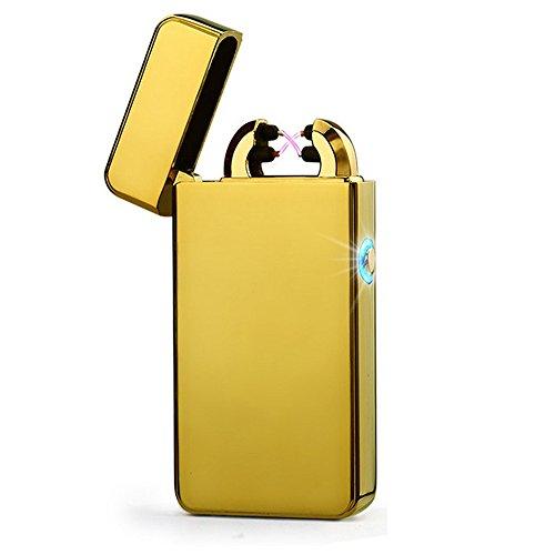 USB Elektronisches Feuerzeug Dual Lichtbogen Aufladbar Winddicht (Gold)
