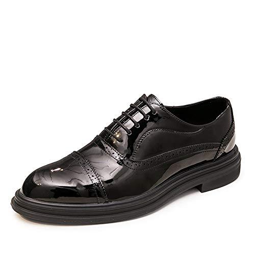 Apragaz Herren Schnürschuhe Leder Slipper Formelle Business-Oxfords rutschfeste Runde Spitze Zu Fuß Fahren Kleid Schuhe (Color : Schwarz, Größe : 40 EU)