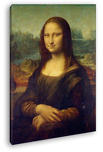 deyoli Die Mona Lisa von Leonardo Da Vinci als Leinwand, Motiv fertig gerahmt auf Echtholzrahmen, Hochwertiger Digitaldruck mit Rahmen, Kein Poster oder Plakat