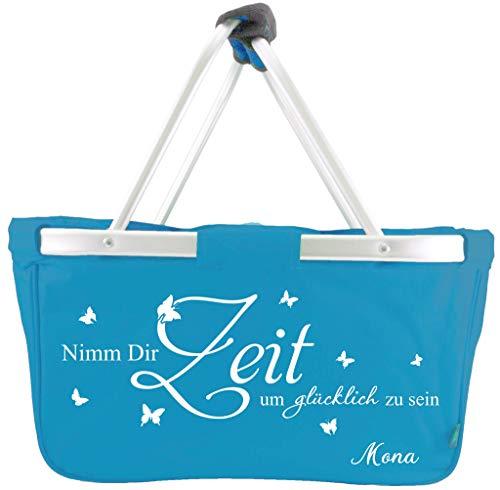 Mein Zwergenland Faltbarer Einkaufskorb mit Namen Nimm dir Zeit, 28 L, türkis