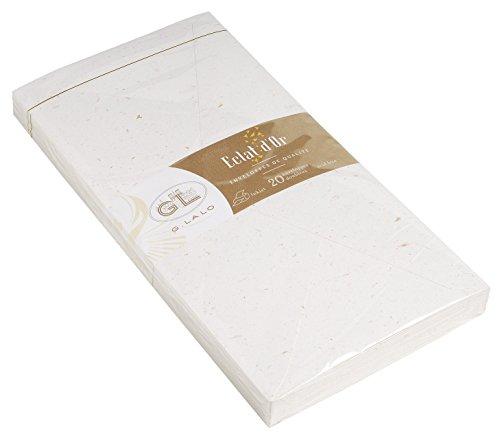 G.Lalo 23700L Umschläge (perfekt für Ihre Einladungen, säurefrei, 22 x 11 cm, 20 Umschläge, 100 g) weiß mit Blattgold