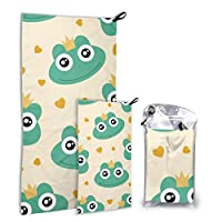 Rtosd Frog Cute Animal Cartoon 2 Pack Microfiber Beach Towel Family Girls Beach Towel Set Fast Drying Best For Gym Travel Backpacking Yoga Fitnes