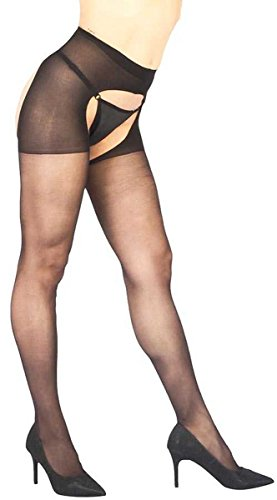 Vixson Damen Visxon Dessous Sets - Open Crotch Panty - Schwarz Stützstrümpfe, Nero Black, Einheitsgröße