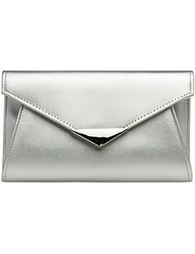 CASPAR TA363 elegante Damen XL Envelope Clutch Tasche / Abendtasche / Umhängetasche mit langer Kette