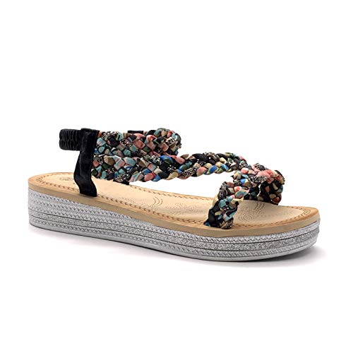 Angkorly - Damen Schuhe Sandalen - Böhmen - Lässig - Metall Detail - Schal drucken - Geflochten - Strass Glitz Keilabsatz high Heel 4 cm - Schwarz 818-7 T 40 -