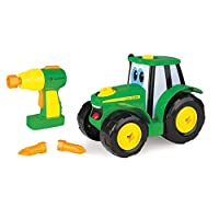 John Deere Build A Johnny Tractor | 16 Piece Building Farm Toy Car | Tractor Toy With Motorised Drill, Christmas Gifts For 18 Months, 2, 3 & 4 Years Old Boys & Girls