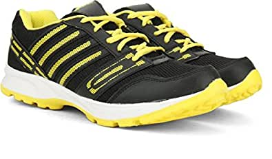 Black Synthetic Leather Running Shoes