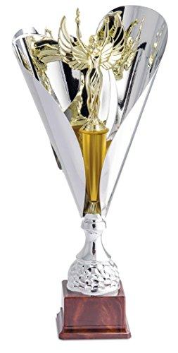 Pokal für Siegerehrung Cup Doppel Vela konisch Glanz mit Pokal Sieg innerhalb-Color Silber und vergoldet mit Base-H CM 50-Frisch-Made in Italy-Geschenkidee - 50 Velo-fan