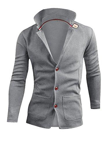 Hommes Manches Longues Poches Avant Dos Fendu Bouton Fermé Blazer Vestes Gris Clair