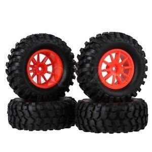 Tradico® TradicoBrand New 4X RC 1:10 Rock Crawler Car Simulation Tire & Red Plastic 10-Spoke Wheel Rim
