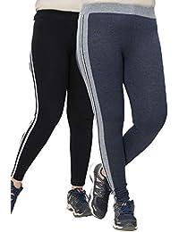 Women's Cotton Slimmer Strip Track/Jogger/Tights (Dark-Grey and Black-White, Free Size)